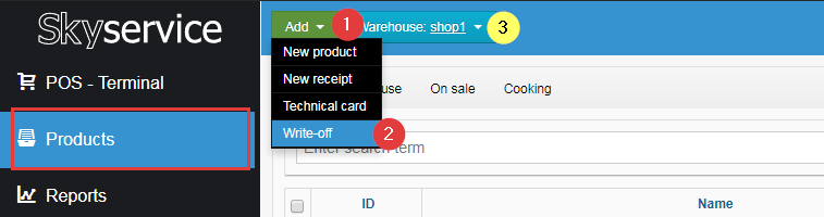 How to write off SkyService POS product
